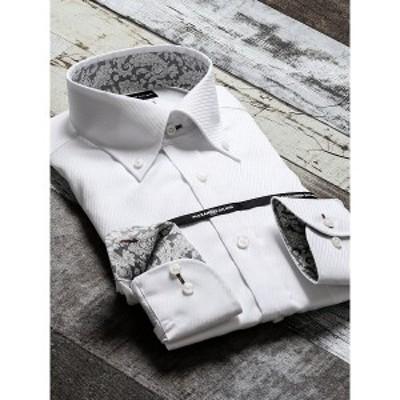 タカキュー(TAKA-Q)/形態安定80双スリムフィットボタンダウン長袖ビジネスドレスシャツ