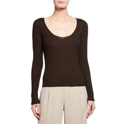 ヴィンス レディース シャツ トップス Skinny Rib Scoop-Neck Wool-Silk Sweater