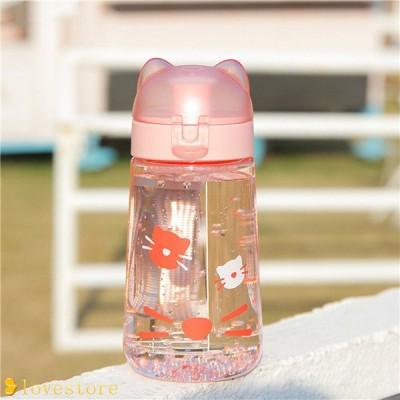ウォーターボトル 水筒 クリアボトル 茶こし付き プラスチック ドリンクボトル ワンタッチオープンタイプ 340ml 直飲み マグボトル