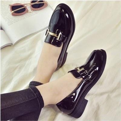 ローファー  レディース ペタンコ 合皮 レザー 靴   ベーシック ビット付き 靴 レディース shoes