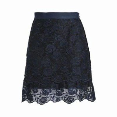 サンドロ ミニスカート Velvet-trimmed lace mini skirt Black