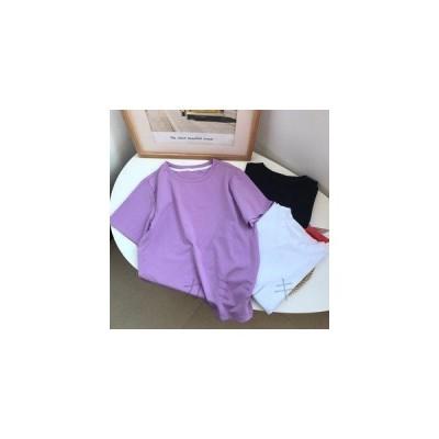 Tシャツ レディース トップス 無地 シンプル カジュアル モノトーン 半袖Tシャツ 丸首 3色展開 定番 薄手 夏服 柔らかい 着心地良い ゆった