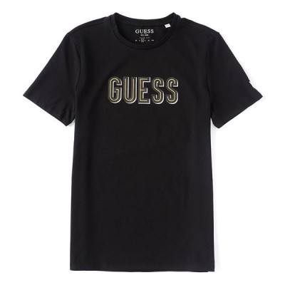 ゲス メンズ Tシャツ トップス Deal Chest Logo Short-Sleeve T-Shirt Black