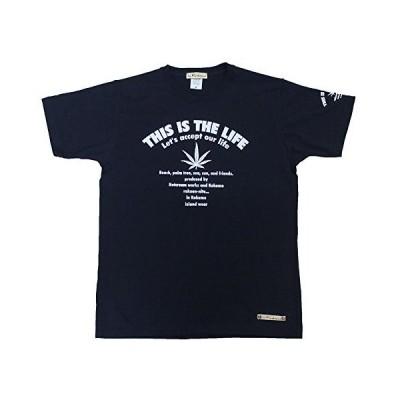 ロゴ &ヘンプ柄 メンズTシャツ mt052 紺(3)M