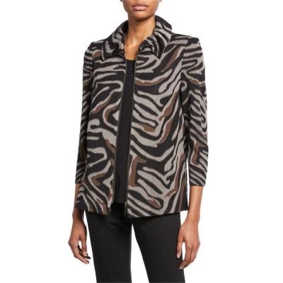 ミソック レディース ジャケット・ブルゾン アウター Petite Zip-Front Animal-Print Jacket with Ruched Collar