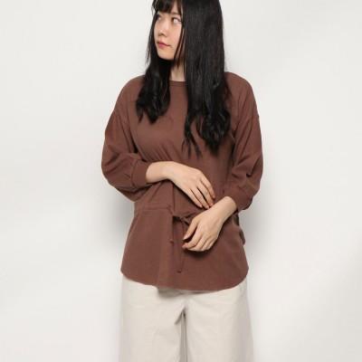スタイルブロック STYLEBLOCK ウエストマークボリューム袖7分丈トップス (モカブラウン)