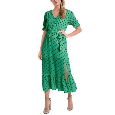 セセ ワンピース トップス レディース Polka-Dot Tie-Waist Midi Dress Luxe Green