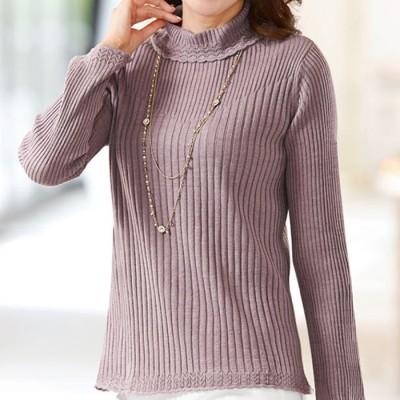 ベルーナ 洗えるリブ変化セーター ローズグレー L レディース