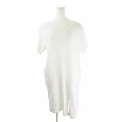 【中古】ナンニング NANING9 ワンピース ひざ丈 半袖 スリット ゆったり オーバーサイズ F 白 ホワイト /AH14 ☆