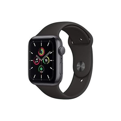 最新 Apple Watch SE(GPSモデル)- 44mmスペースグレイアルミニウムケースとブラックスポーツバンド + Belkin i