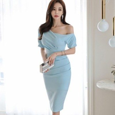 キャバ ドレス キャバドレス ワンピース パーティードレス ワンショルダー カット ギャザー デコルテ 華奢 爽やか ライトブルー S M L XL