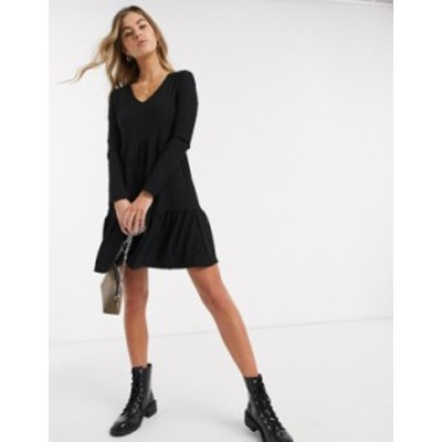 ニュールック レディース ワンピース トップス New Look crinkle long sleeve smock dress in black Black 1