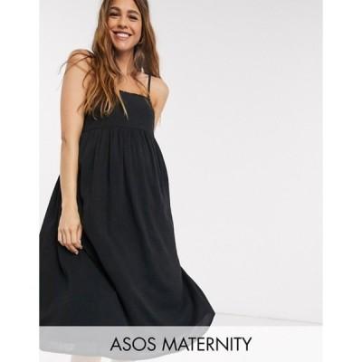 エイソス レディース ワンピース トップス ASOS DESIGN Maternity cami midi tiered crinkle sundress in black