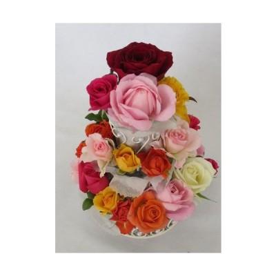 クイックお届け!生花 バラでできた3段フラワーケーキ カラフル