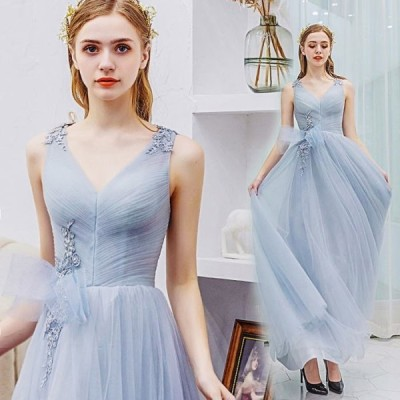 【ANGEL】ノースリーブレースリボンチュール背中編上げAラインロングドレス【送料無料】高品質 グレー 灰色 ロングドレス パーティードレス