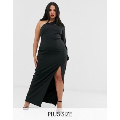 ヴェスパー Vesper Curve レディース ワンピース ワンピース・ドレス one shoulder maxi dress with split and cut out in black Black