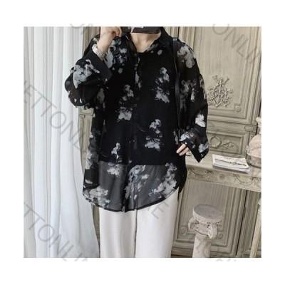 メンズシャツ 長袖 秋 ゆったり 大きめ 韓国服 薄手  カジュアルシャツ