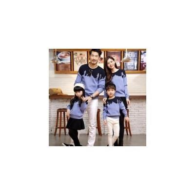 秋冬親子親子ペアパパママセーターニット親子と子供のお揃いペア家族お揃い長袖メンズセーターレディースセータースポーツウエアペア上