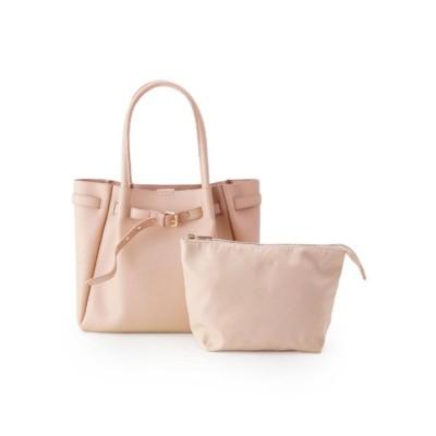 ピンクアドベ pink adobe ベルト飾りポーチ付A4トートバッグ (ピンクベージュ)