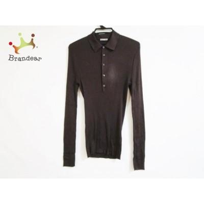 ボッテガヴェネタ 長袖セーター サイズ50 M メンズ - ダークブラウン レギュラーカラー/シルク 新着 20201206