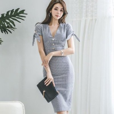 キャバ ドレス キャバドレス ワンピース ミディアムドレス クール ストライプ リボン 大人 爽やか ネイビー x ホワイト S M L XL