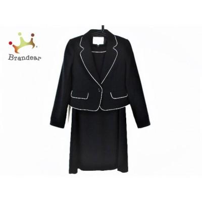 ジュンコシマダ ワンピーススーツ サイズ9YR レディース 美品 - 黒×ダークネイビー×白   スペシャル特価 20201025
