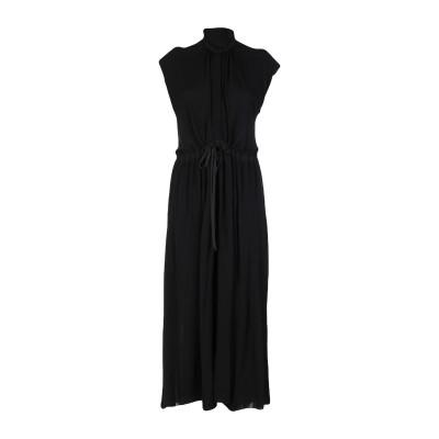 ALBINO TEODORO ロングワンピース&ドレス ブラック 42 レーヨン 100% / コットン ロングワンピース&ドレス