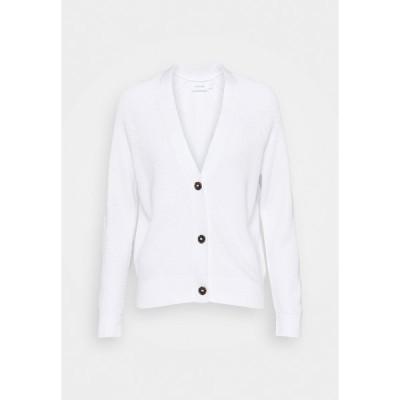 カルバンクライン カーディガン レディース アウター V NECK  - Cardigan - bright white