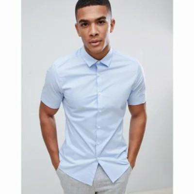 エイソス シャツ stretch slim formal work shirt with shirt sleeves in blue Blue