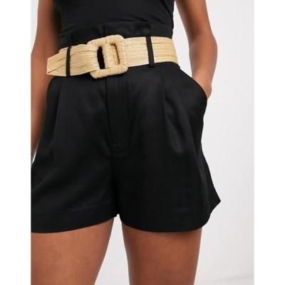 アンドアザーストーリーズ レディース ハーフパンツ・ショーツ ボトムス & Other Stories high waist cotton shorts with rafia belt in black