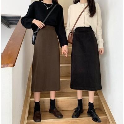 ボトムス スカート シンプル ミモレ丈 スリット レトロ きれいめ カジュアル 大人可愛い 韓国ファッション Aライン