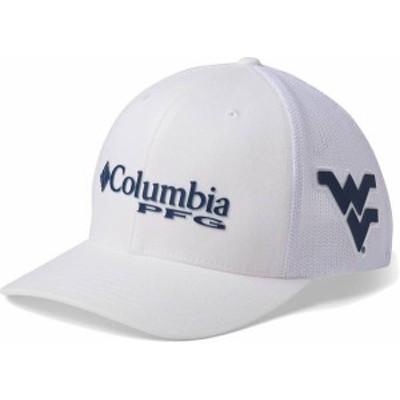コロンビア メンズ 帽子 アクセサリー Columbia Men's West Virginia Mountaineers PFG Mesh Fitted White Hat