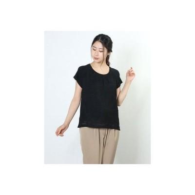 リネーム Rename 透け感デザイン半袖トップス (ブラック)