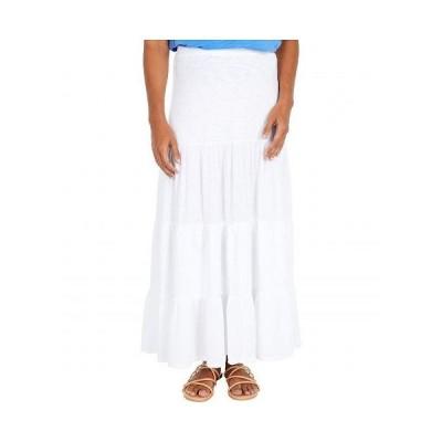 Mod-o-doc モッドオードック レディース 女性用 ファッション スカート Heavier Slub Jersey Tiered Maxi Skirt with Gauze Panels - White