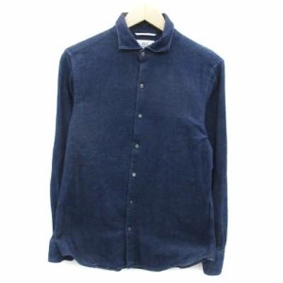 【中古】フォーワンセブンバイエディフィス 417byEDIFICE シャツ カジュアル 長袖 無地 L ブルー 青 /YM20 メンズ
