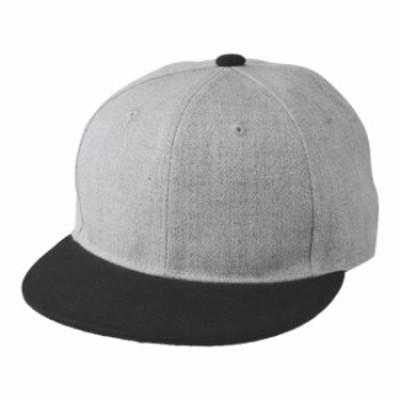 フラットバイザー スナップバック キャップ 帽子 CAP F サイズ ヘザーグレー/ブラック 無地 ユナイテッドアスレ CAB