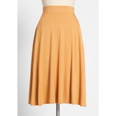 モドクロス ModCloth レディース ひざ丈スカート スカート excellence attained knit a-line skirt gold