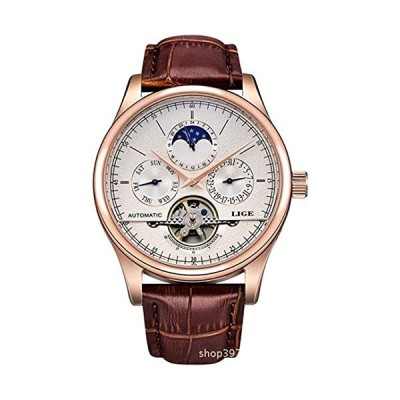Men's Watch Automatic Mechanical Skeleton Dial Leather Band Watch Date/Week/24H Sub-dials 並行輸入品
