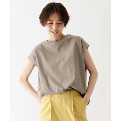 SHOO・LA・RUE/シューラルー ひんやり 配色ステッチTシャツ グレー(012) 04(LL)