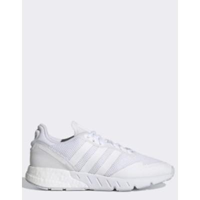 アディダス レディース スニーカー シューズ adidas Originals ZX 1K Flux sneakers in triple white White