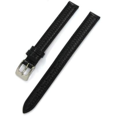 CASSIS[カシス] カーフ リザード型押し 時計ベルト DONNA Lizard Calf ドナ 10mm ブラック 交換用工具付き D00002