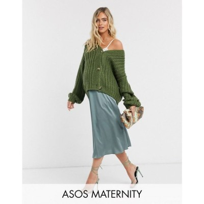 エイソス ASOS Maternity レディース ひざ丈スカート マタニティウェア スカート ASOS DESIGN Maternity satin bias midi skirt in green グリーン