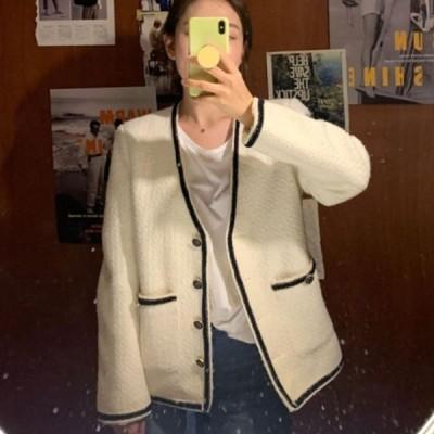 ノーカラージャケット アウター 羽織 長袖 ゆったり 無地 シンプル 大人可愛い カジュアル ベーシック お出かけ デート 普段使い デイリー 着回し