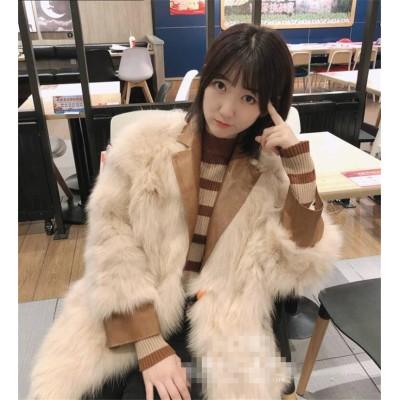 ◆送料無料◆秋冬トレンド 可愛い キツネの毛皮 puレザーコート おしゃれ 個性 外着 アウター レディース 人気  レディース フェイクファーコート