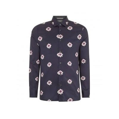 Ted Baker テッドベイカー メンズ 男性用 ファッション ボタンシャツ Waight Long Sleeve Floral Print Shirt - Navy