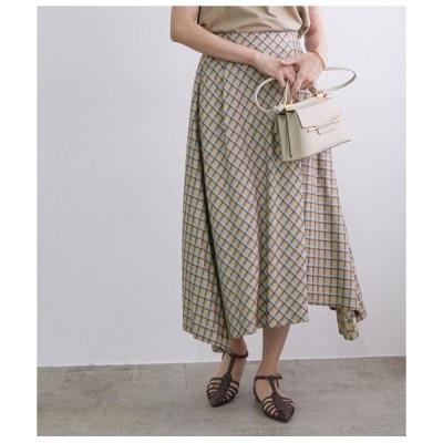 ROPE' / ロペ ヴィスコースチェックラップ風スカート