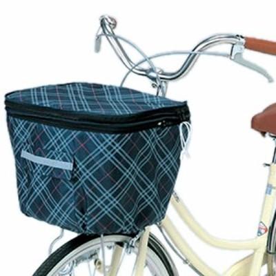 川住製作所 自転車 バスケットカバー 2段式前カゴカバー ネイビーチェック KW-256F