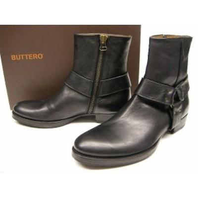 BUTTERO(ブッテロ)/レザーハーネスブーツ/B5348USGBI14/サイドジップブーツ/リングブーツ/エンジニアブーツ/ZIP付き/ファスナー/シューズ