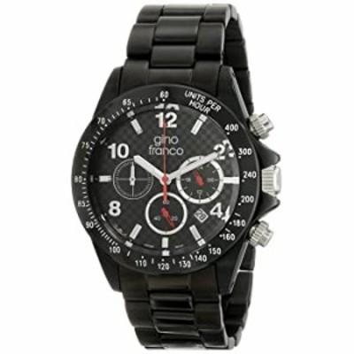 gino franco Men's 9688BK Rogue Round Chronograph Black Ion-Plated Bracelet Watch