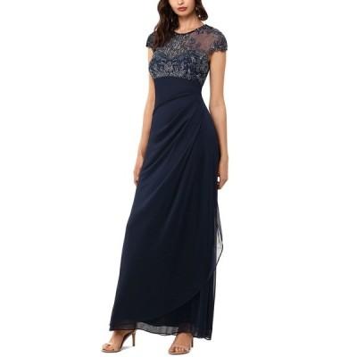 エスケープ ワンピース トップス レディース Beaded-Top Gown Navy Blue